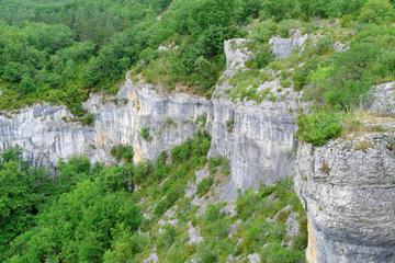 Cirque de Venes forming part of the Geosite of the Quercy causses in the commune of Saint Cirq Lapopie  Lot-et-Garonne  France.