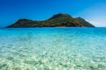 View of the M'tsamboro island from a sand bank that the tide discovers when it is low  Mayotte  Indian Ocean