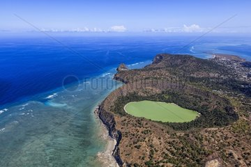 Lake Dziani  ancient crater of volcano  Petite Terre  Mayotte  Indian Ocean