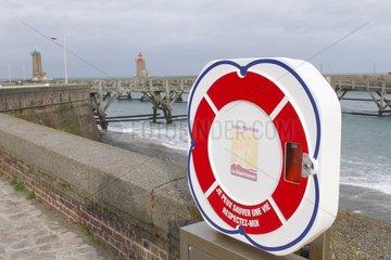 Lifeline in the port of Fecamp  Normandy  France