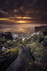 The Blower of Saint-Leu at sunset  La Reunion