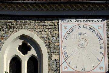 Inscription Think of the last church Sundial Notre Dame   Place de la Halle  Mens  Rhône-Alpes  France