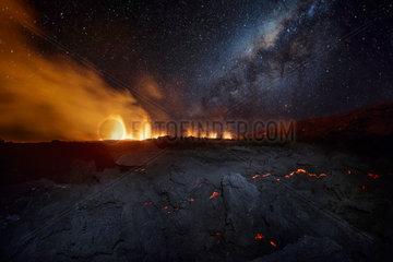 Piton de la Fournaise in activity under the milky way  Volcano eruption 11 of september 2016  Reunion