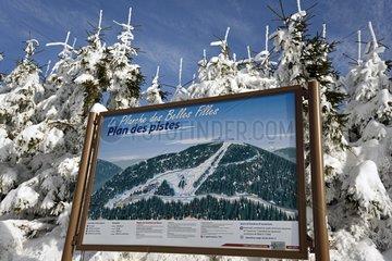 Map of ski slopes La Planche des Belles Filles in winter  the town of Mines Floor   Massif des Vosges  France