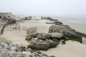 Blockhaus Vestiges on Wissant beach Normandy