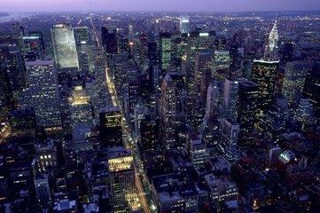 New York; vue nocturne de la ville