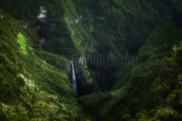 Waterfall in the Trou de Fer  Piton des Neiges Massif  Reunion Island