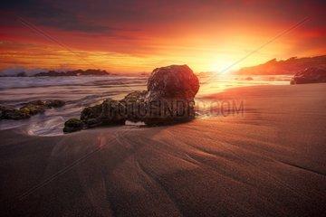 Sunset on the beach of Bois Blanc between Saint-Leu and the Etang Salé  Reunion Island