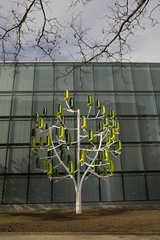 Wind Tree  Geneva  Switzerland. It is able to satisfy more than 80% of the electricity consumption of a household of four people  excluding heating. The wind farm is actually a metal shaft that produces green electricity and its creator rather not hear ab