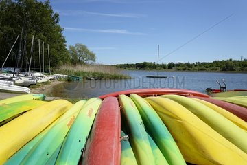 Canoes   Watersports on a pond  Mittersheim   Lorraine  France