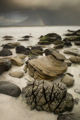 Singing sands Beach on island of Eigg - Small isles Hebrides