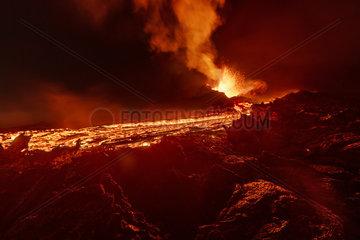 Piton de la Fournaise in activity  Volcano eruption 16 of september 2016  Reunion