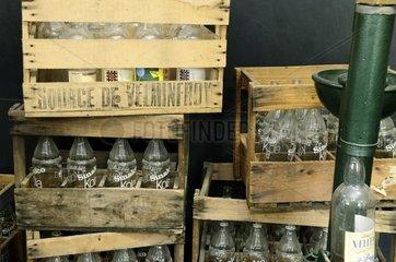 Old bottlie boxes  water museum   Velleminfroy   Franche -Comté   France