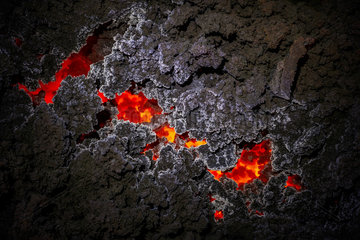 Clinkers lava flow partially cooled with creating crystals due to gas emanation. Piton de la Fournaise volcano  Reunion Island