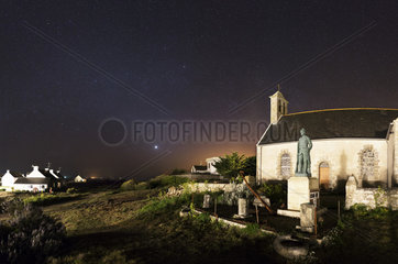Zodiacal Light and Church H?dic - Brittany France