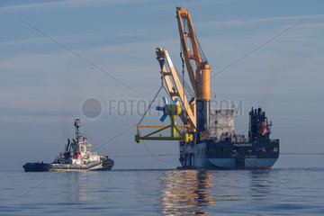Immersion of a tidal turbine - Iroise Sea Brittany France