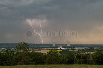 High based storm and lightning near a nuclear power plant
