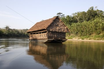 Boat floating to observe the macaws and parrots Peru