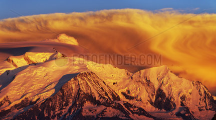 Storm clouds at sunset on the Mont Blanc Massif - France