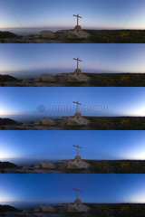 Belt of Venus and cross on the Island of Houat - France