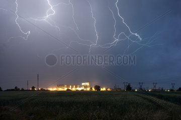 Storms near the thermal plant of Bayet - France