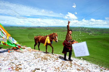 Rider praying before the race when Lapsté - Tibet China