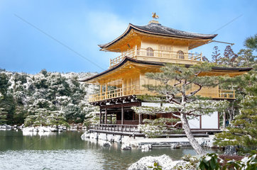 Buddhist temple Kinkaku-ji in winter - Japan