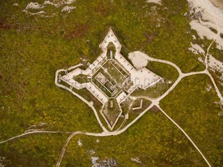 Aerial view of Prince of Wales Fort along coast of Hudson Bay  Churchill  Manitoba  Canada