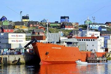 Denmark. Greenland. West coast. Ship in Aasiaat's harbour.