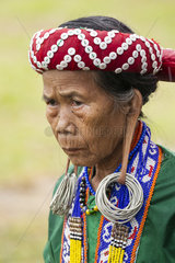 Portrait of woman at a Dayak Parade - Borneo Indonesia