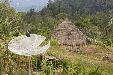 TV antenna and straw hut - Gunung Mutis NR Timor Indonesia