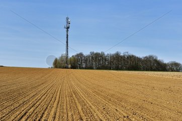 Telecommunication tower in the countryside at Luzarches  Val- d'Oise  France