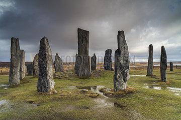 Circle Callanish standing stones in winter - Lewis Hebrides