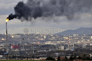 Black smoke from a flare due to a technical accident France