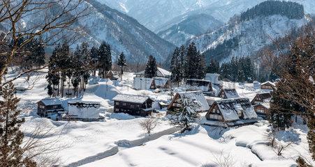 Village of Shirakawa-go in winter - Japan Alps Japan