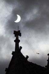 Partial Solar Eclipse and Cathedral - Brittany France