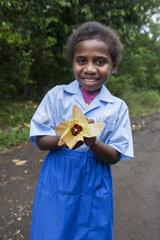 Girl displaying a flower Hibiscus - Tanna Island Vanuatu
