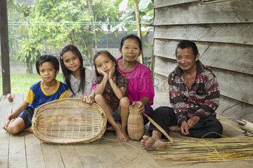 Rattan handicraft family - Borneo Indonesia