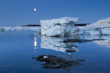 Full Moon and Icebergs - Hudson Bay Canada