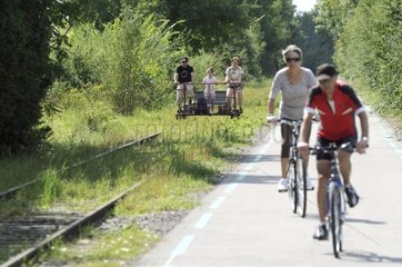 Bike-rail and bike path on the Vaivre-Gray Line France