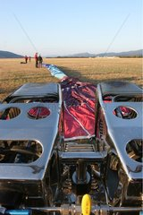 Burners and web of an hot air balloon in a meadow Provence