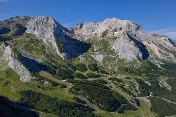 Gourette ski resort in summer and limestone massif of the Pic du Ger  Pyrenees France