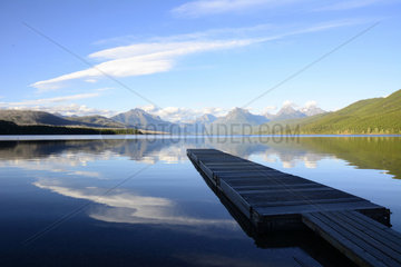 Pier on the Lake Mc Donald  Glacier National Park  Montana  USA