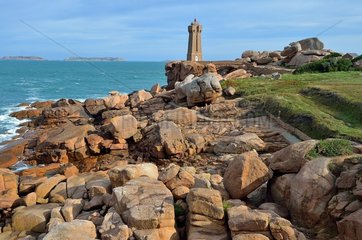Lighthouse at the Pointe du Squewel in Ploumanac'h. Pink Granite Coast. Brittany  France
