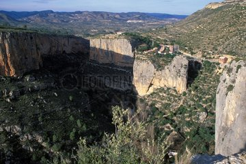 Geological fracture visible on the cliffs Chulilla Spain
