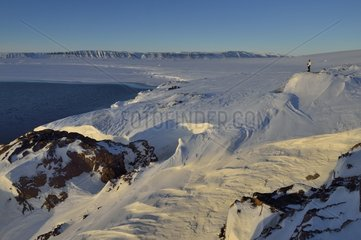 Kap Hope  Greenland  the frozen Hurry fjord in the background