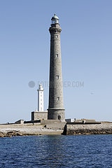 Ile Vierge Lighthouse is one of the highest in the world  located in Finistere-Nord  Lilia Archipelago  Brittany  France