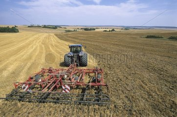 Stubble-ploughing of a barley piece after the harvest France