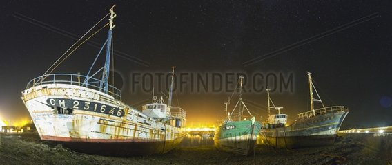 Wrecks stranded in the port of Camaret - Brittany France