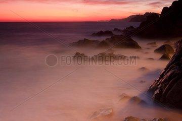 Sunset on rocky shore - Catalonia Spain